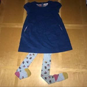 👧🏼Mini Boden Corduroy Dress & Floral Tights